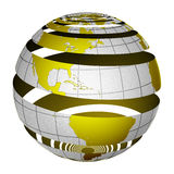 Surrealistic peeling globe Earth 3D. A unique and special isolated striped planet Earth with matte gold and sandblasted silver finishes. Both country map and Royalty Free Stock Photos