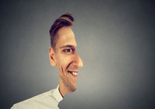 Surrealistic portrait front with cut out profile of a man royalty free stock photography