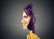 Surrealistic portrait front with cut out profile of a woman royalty free stock photos