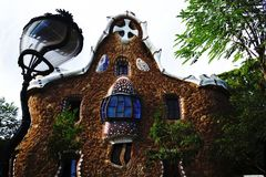 Antoni Gaudí Casa del Guarda Parque Güell Barcelona. Surrealistic Reinterpretation of Casa del Guarda, Parque Güell, Barcelona by Antoni Gaudí Royalty Free Stock Images