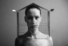 Surrealistic woman with cage Stock Photography