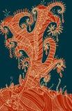 Surrealistisch mystiek abstract mahonie met een geel stock illustratie