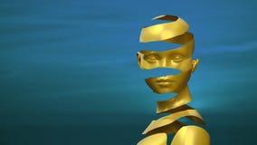 Surrealistisches Bild der Frau im Gold gegen blauen Hintergrund stock abbildung
