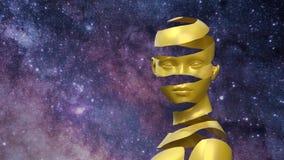 Surrealistisk bild av kvinnan i guld med universumet som en bakgrund royaltyfri illustrationer