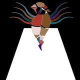 Surrealistisk bildlig vektorillustration med den blyga fågelkvinnan i stycken som går på catwalk Arkivfoton