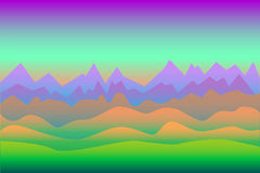 Surrealistisk landskapbakgrund med berg, med utrymmet för text Arkivbilder