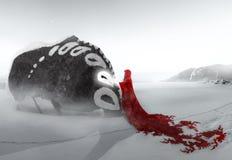 Surrealistyczna fantazji kobieta Z Czerwoną peleryną I Rockową istotą ilustracja wektor