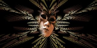 Surrealistyczna karnawał maska i fractal wzór liście jako nurek Zdjęcie Stock