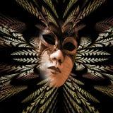 Surrealistyczna karnawał maska i fractal wzór liście jako nurek Fotografia Royalty Free