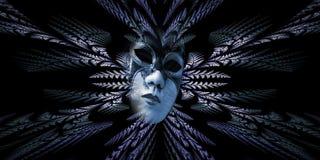Surrealistyczna karnawał maska i fractal wzór liście jako nurek Obrazy Royalty Free