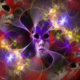 Surrealistyczna karnawał maska i fractal wzór Fotografia Royalty Free