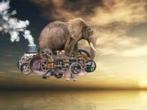 Surrealistyczna Latająca Steampunk maszyna, słoń royalty ilustracja