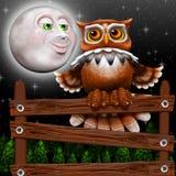 Surrealistyczna sowa i Uśmiechnięta księżyc na nocy Obraz Stock