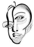 Surrealistyczne ręka rysunku twarze Zdjęcie Royalty Free