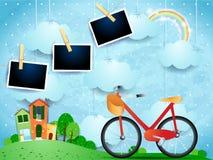 Surrealistyczny krajobraz z roweru i obwieszenia fotografii ramami Zdjęcie Stock