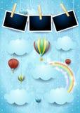 Surrealistyczny niebo z gorące powietrze balonami i fotografii ramami Fotografia Stock