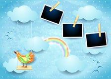 Surrealistyczny niebo z huśtawki, ptaka i fotografii ramami, Zdjęcie Royalty Free