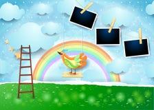 Surrealistyczny papieru krajobraz z huśtawki, ptaka i fotografii ramami, Zdjęcie Stock