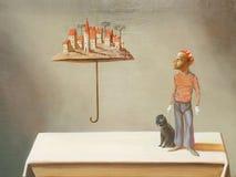 Surrealistyczny parasolowy mężczyzna royalty ilustracja