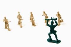 Surrender Concept - Army Men. Isolated Plastic Toy Soldiers - Surrender Stock Images