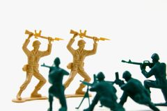 Surrender - Concept Shot of Plastic Soldiers Stock Image