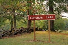 Surrender Field Sign. At the Yorktown Battlefield in Yorktown, Virginia Royalty Free Stock Photo