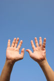 Surrender/Help!. Pair of hands raised in the air Stock Photos