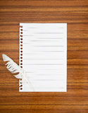 Surrender note with white feather,concept. Cowardice, defeat etc Stock Images