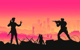 Surrender soldier. Illustration  of war in crowd town with elite soldier , concept silhouette landscape Stock Image