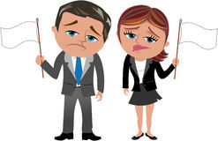 Surrendered Business Woman Man Wave White Flag. Surrendered cartoon business woman Meg and business man Bob for not achieving goals waving white flag isolated on Stock Photo