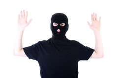 The surrendered criminal in a mask Royalty Free Stock Photo