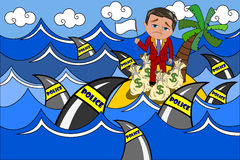 Surrendered Evader Tax Haven Shark Police Team. Surrendered cartoon businessman Bob waving white flag on offshore tax haven surrounded by sharks of police. Eps Stock Photo