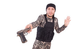 Surrendering man in military uniform Stock Photography