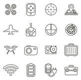 Surret eller Quadcopter symboler gör linjen vektorillustrationuppsättning tunnare Royaltyfri Fotografi
