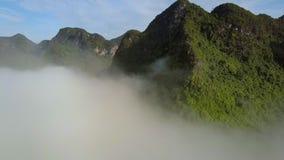 Surret flyger ovanför dimma till stickande fram upplysta berg stock video
