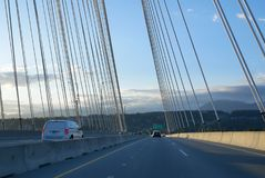 POV view of riding over the bridge in Surrey BC Canada Stock Photography