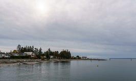 SURREY, CANADÁ - 27 de octubre de 2018: Área del parque de Blackie Spit en la bahía del límite fotos de archivo