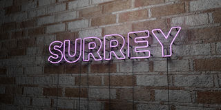 SURREY - Glowing Neon Sign on stonework wall - 3D rendered royalty free stock illustration Royalty Free Stock Photo