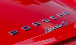 SURREY, UK - CIRCA 2015: Porsche Badge Close Up Stock Photography