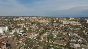 Surrfluga över stad stock video