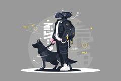 Surrkille som går med hunden stock illustrationer