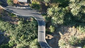 Surrlängd i fot räknat: Väg med bilar på Valle Gran Rey på den LaGomera ön arkivfilmer