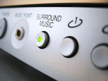 Surround music sound system. Surround music highlighted button in ON position on home theater system Stock Photo