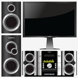 Surround stereo system. Vector illustration of a stereo system with a television Stock Photo