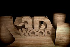Surround the text between the wooden pieces. Stock Image
