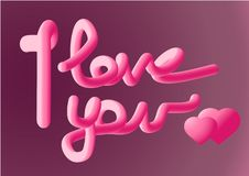 I love you beautiful lettering, text with 2 pink hearts. Vector graphics stock illustration