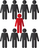 Surrounded. A person being surrounded by other people Royalty Free Stock Photography