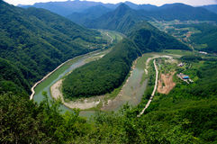 Surrounded by Donggang river in Bamseom look at from Byeonbangchi Skywalk Royalty Free Stock Photo