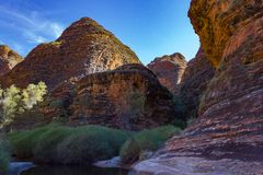 The walk into Catherdral Gorge, Purnululu, National Park. Surrounded each side by towering banded cliffs the walk during the Wet season can be difficult due to royalty free stock photo