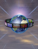 Surrounded Earth. Film with many images Encircled Earth Stock Photo